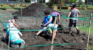 Kids digging for fossils at TRMF