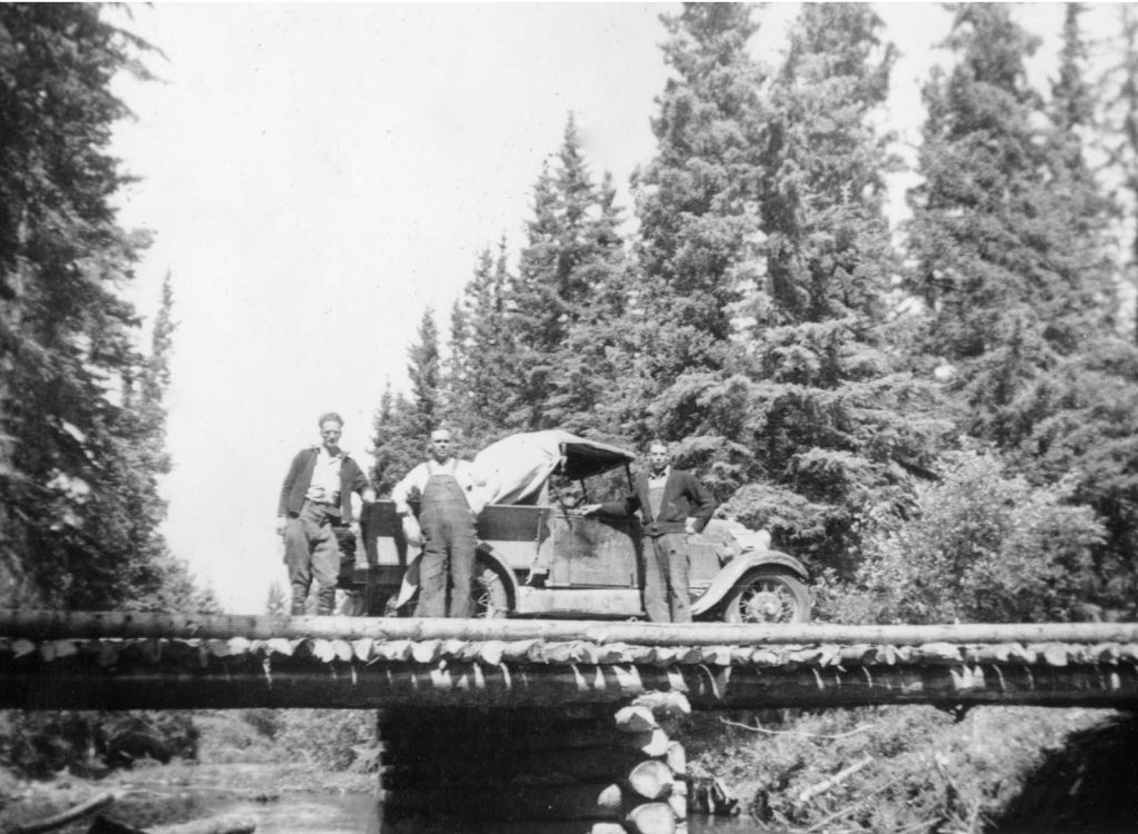 Lawrence Lock & Model A Ford on Honeymoon Creek Bridge